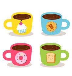Cute cup coffee bekery vector