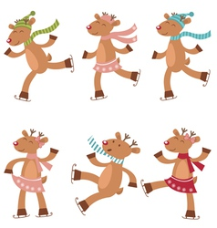 Deers ice skating vector image