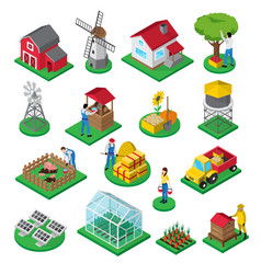 farm facilities workers isometric icons set vector image