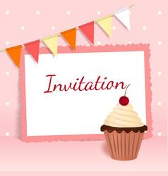 Festive card with cherry cream cake flags frame vector