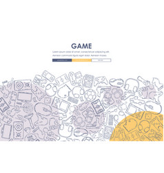 Gaming doodle website template design vector