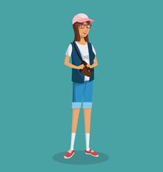 Girl glasses teen purse shorts blue vest vector