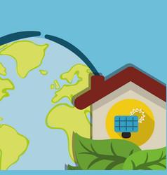 Globe home energy solar panel ecology vector