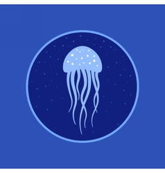 Jellyfish under water icon marine life vector