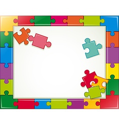 Jigsaw frame vector image vector image