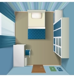 Modern Bedroom interior Realistic Top View vector image