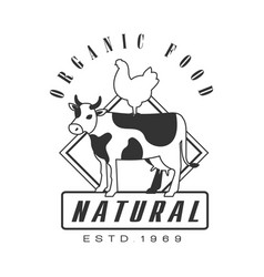 Natural organic food estd 1969 logo black and vector