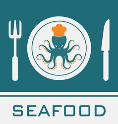 Squid fork and knife vector