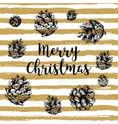 Trendy merry christmas card gold striped vector