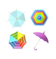 umbrella parasol side and top view rainbow color vector image vector image