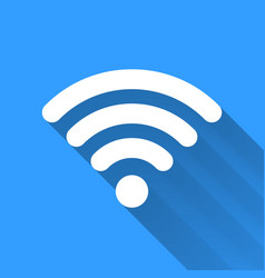 White wifi icon with long shadow on blue vector