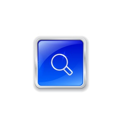 Magnifier icon on blue button vector