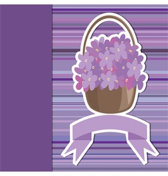 Card with flower basket and banner vector