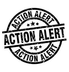 Action alert round grunge black stamp vector