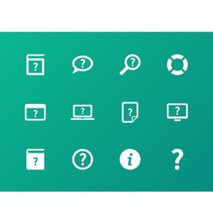 Help and faq icons on green background vector