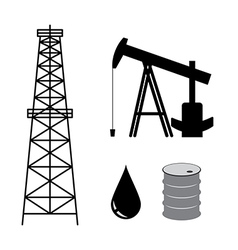 Oil derrick with pump and barrel - set vector