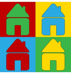 Pop art home icons vector