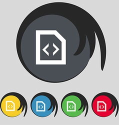 Programming code icon sign symbol on five colored vector