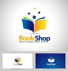 Book logo book shop icon vector