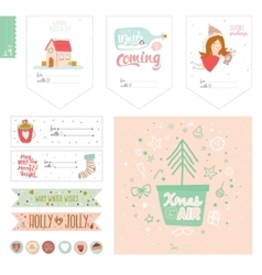 Cute christmas cards and stickers vector