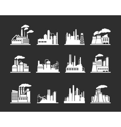 Industry manufactory building icons vector