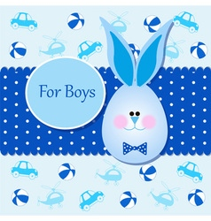 Card for baby boy in blue colors vector image