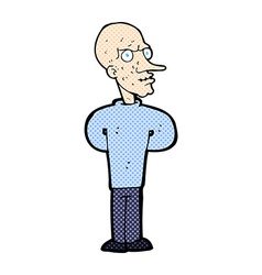 Comic cartoon evil bald man vector