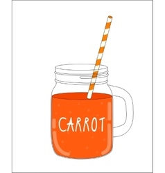 Fresh carrot smoothie healthy food vector