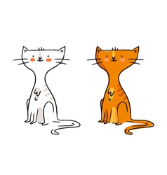Freehand cartoon character funny ginger cat sketch vector