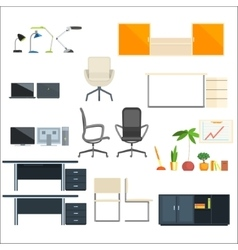 Office furniture and objects collection vector