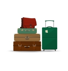 Suitcases and bag isolated on white vector