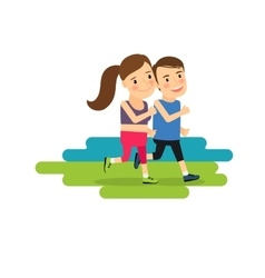 Active lifestyle running boy and girl vector image vector image