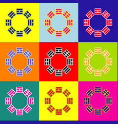 Bagua sign pop-art style colorful icons vector