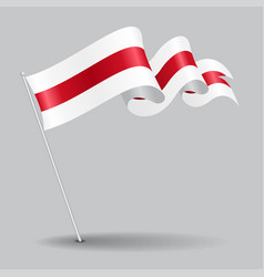 belorussian pin wavy flag vector image vector image