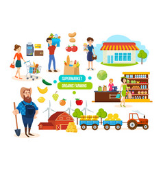 Buyers sellers in mall farmer sales of products vector