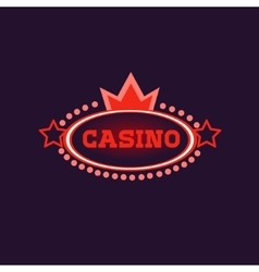 Crowned Casino Neon Sign vector image