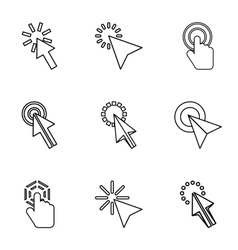 Cursor icons set outline style vector image vector image