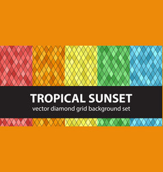 diamond pattern set tropical sunset seamless vector image