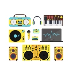 Dj audio music equipment set vector
