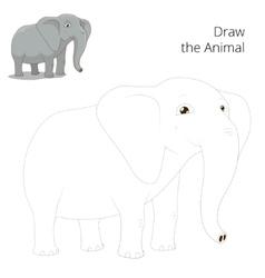 Draw animal elephant educational game vector