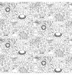 Easter doodle seamless pattern vector image vector image