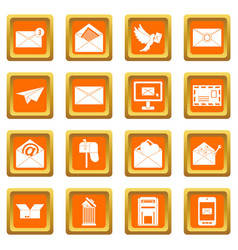 email icons set orange vector image vector image