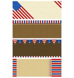 Four wooden banners with elements of usa banner vector