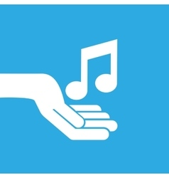 Hand hold icon smartphone and music note design vector