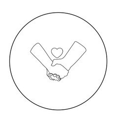 Hands icon in outline style isolated on white vector