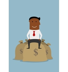 Happy smiling businessman on money bags vector