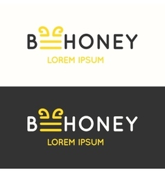 Logo of bee honey vector