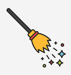 magic flying broom with sparkles linear vector image