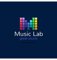 Music studio M letter creative equalizer bright vector image