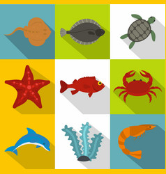 Ocean life icon set flat style vector